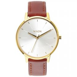 Ladies' Nixon Kensington Gold-Tone and Saddle Leather Watch A108-1425