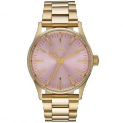 Ladies' Nixon Sentry 38 SS Pink Dial Watch A450-2360