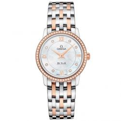 Ladies' OMEGA De Ville Prestige Diamond Two-Tone Watch O42425276055002