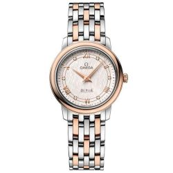 Ladies' OMEGA De Ville Prestige Quartz Stainless Steel and Rose Gold Diamond Watch O42420276052003