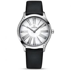 Ladies' OMEGA De Ville Trésor Diamond Black Fabric Watch O42817366005001