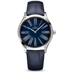 Ladies' OMEGA De Ville Trésor Diamond Blue Dial Blue Leather Watch O42818366003001