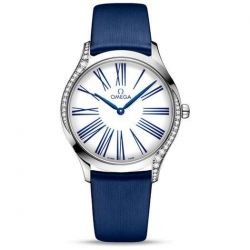 Ladies' OMEGA De Ville Trésor Diamond Blue Fabric Watch O42817366004001
