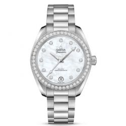 Ladies' OMEGA Seamaster Aqua Terra Co-Axial Master Chronometer Chronograph 34mm White Mother-of-Pearl Dial and Diamond Watch O22015342055001