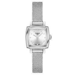 Ladies' Tissot Lovely Square Stainless Steel Mesh Diamond Watch T0581091103600