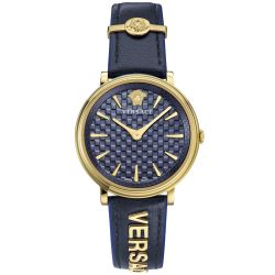 Ladies' Versace V-Circle Logomania Blue Leather Watch VE8101219