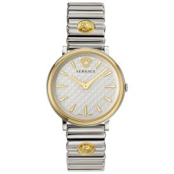 Ladies' Versace V-Circle Logomania Two-Tone Stainless Steel Watch VE8101419