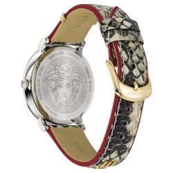 Ladies' Versace V-Circle Logomania White Snakeskin Leather Watch VE8101119