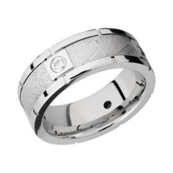 Lashbrook Diamond Cobalt Chrome and Meteorite 8mm Comfort Fit Band