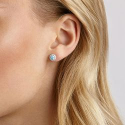 Lightbox Blue Lab Grown Diamond Halo Stud Earrings 1ctw