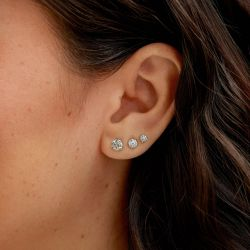 Lightbox Blue Lab Grown Diamond Stud Earrings 1ctw