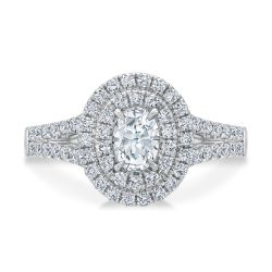 Ellaura Couture Oval Diamond Double Halo Engagement Ring 1ctw