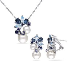 London and Sky Blue Topaz, Sapphire and Freshwater Cultured Pearl Cluster Earrings and Necklace 2-Piece Set