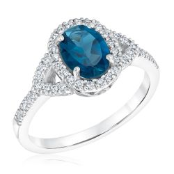 London Blue Topaz and Diamond Halo White Gold Ring 1/5ctw