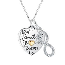 Love, Family, Friendship Heart and Diamond Infinity Pendant Necklace
