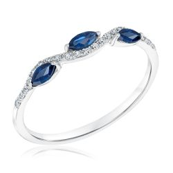 Marquise Blue Sapphire and Diamond Accent Band