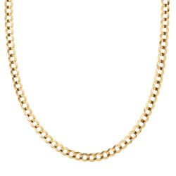 Men's Yellow Gold Curb Chain Necklace 7mm, 24 Inches