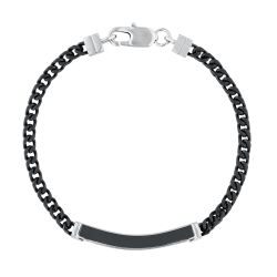 Men's Black Ion-Plated and Stainless Steel Diamond ID Bracelet 1/5ctw