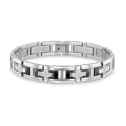 Men's Black Ion-Plated and Stainless Steel Diamond Link Bracelet 3/8ctw