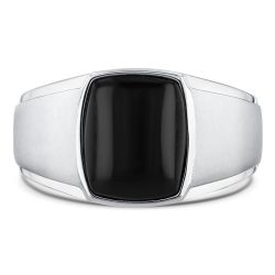 Men's Black Onyx and Sterling Silver Ring