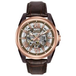Men's Bulova Classic Sutton Automatic Rose Gold-Tone and Leather Watch 98A165