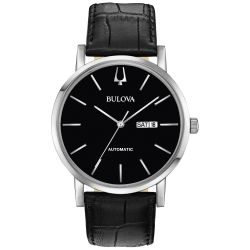 Men's Bulova Classic American Clipper Automatic Black Dial and Leather Strap Watch 96C131