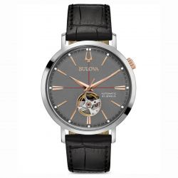 Men's Bulova Classic Aerojet Automatic Grey Dial Black Leather Watch 98A187