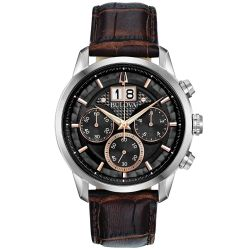 Men's Bulova Classic Sutton Chronograph Black Dial Brown Leather Strap Watch 96B311