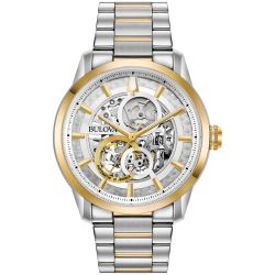 Men's Bulova Classic Sutton Automatic Skeleton Dial Two-Tone Stainless Steel Watch 98A214