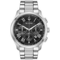 Men's Bulova Classic Wilton Black Dial Chronograph Stainless Steel Watch 96B288