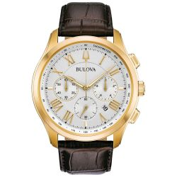 Men's Bulova Classic Wilton Brown Leather Strap Watch 97B169