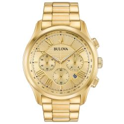 Men's Bulova Classic Wilton Yellow Gold-Tone Dial Stainless Steel Watch 97B175