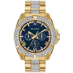 Men's Bulova Crystal Octava Blue Dial Yellow Gold-Tone Stainless Steel Watch 98C128