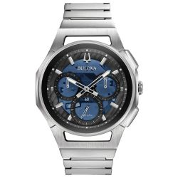 Men's Bulova CURV Chronograph Stainless Steel Blue Dial Watch 96A205