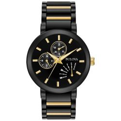 Men's Bulova Futuro Black and Yellow Gold-Tone Stainless Steel Watch 98C124