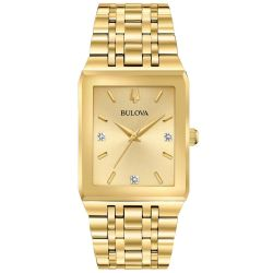 Men's Bulova Futuro Quadra Rectangular Case Yellow Gold-Tone Stainless Steel Watch 97D120