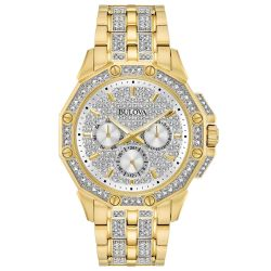 Men's Bulova Octava Crystal Gold-Tone Watch 98C126