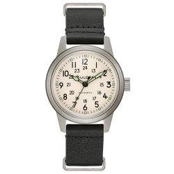 Men's Bulova Military Hack Automatic Black Leather NATO Strap Watch 96A246