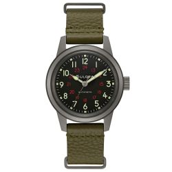 Men's Bulova Military Hack Automatic Green Leather NATO Strap Watch 98A255