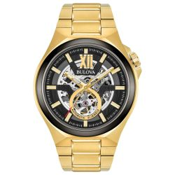 Men's Bulova Maquina Automatic Yellow Gold-Tone Stainless Steel Watch 98A178