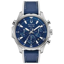 Men's Bulova Marine Star Blue Dial Chronograph Leather and Silicone Strap Watch 96B287