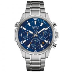 Men's Bulova Marine Star Blue Dial Chronograph Stainless Steel Watch 96B256