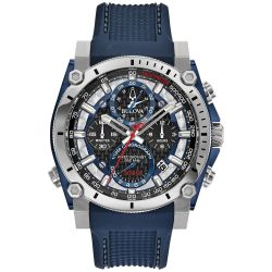 Men's Bulova Precisionist Blue Polyurethane Strap Watch 98B315
