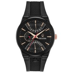 Men's Bulova Special Edition Modern Latin Grammy Black Strap Watch 98B321
