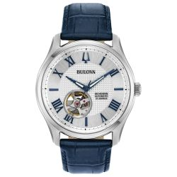 Men's Bulova Classic Wilton Automatic Blue Leather Strap Watch 96A206