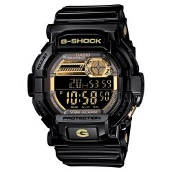 Men's Casio G-Shock Digital Vibration Alert Black and Gold-Tone Resin Watch GD350BR-1