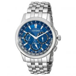 Men's Citizen Eco-Drive Calendrier Blue Dial Stainless Steel Watch BU2021-51L