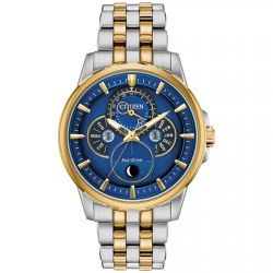 Men's Citizen Eco-Drive Calendrier Moon Phase Blue Dial Two-Tone Watch BU0054-52L