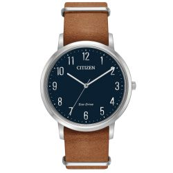 Men's Citizen Eco-Drive Chandler Brown Leather Strap and Navy Blue Dial BJ6500-12L