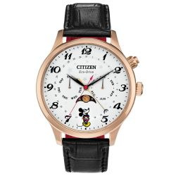 Men's Citizen Eco-Drive Disney Mickey Mouse Moon Phase Black Leather Strap Watch AP1053-15W